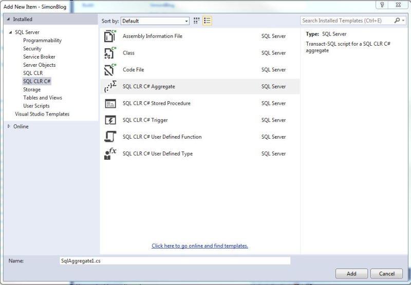 SSDT CLR  C# Aggregates 1