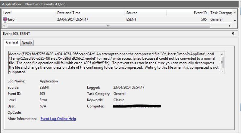 SSDT Ese Error2